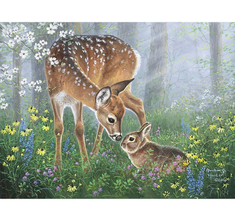 Paint By Number Kit- Deer & Bunny