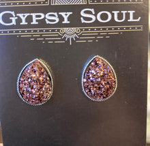Load image into Gallery viewer, GS- Geode Teardrop Studs, Brown