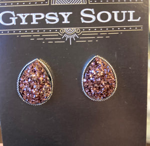 GS- Geode Teardrop Studs, Brown
