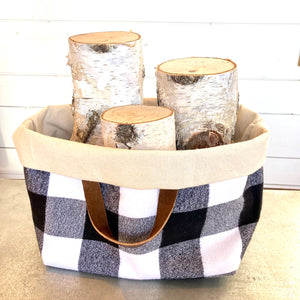 Reversible Basket Bag- Black & White Plaid