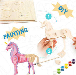3D Wood Puzzle Paint Kit- Unicorn