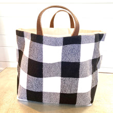 Load image into Gallery viewer, Reversible Basket Bag- Black & White Plaid