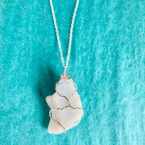 GS-Beach Glass Necklace, White