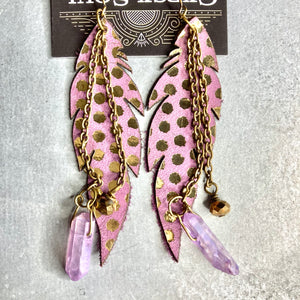 GS- Purple Leather Earrings