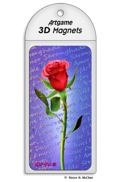 3D MAGNET - RED ROSE