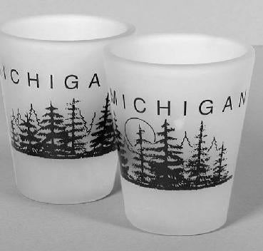 Frosted Glass Michigan Tree and Moon Shot Glass
