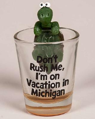 Turtle Don't Rush Me Michigan Shot Glass
