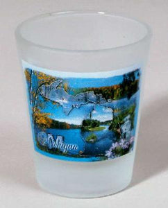 Frosted Glass Michigan Blue Theme Shot Glass