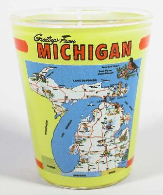 Yellow Michigan Map Shot Glass