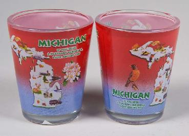 Red and Blue Map Michigan Shot Glass