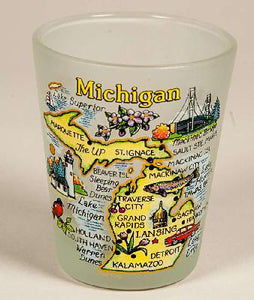 Frosted Glass Michigan Map Shot Glass