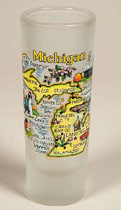 Frosted Glass Michigan Map Shooter Shot Glass