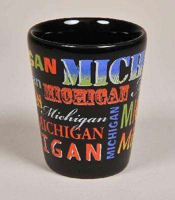 Black Ceramic Michigan Word Art Shot Glass