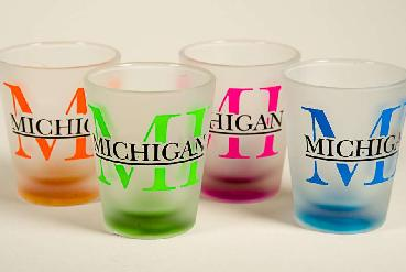 Frosted Glass Colored Bottom Michigan Shot Glass