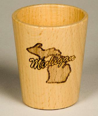Wooden Michigan Shot Glass