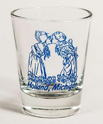 Holland Kissing Kids Shot Glass