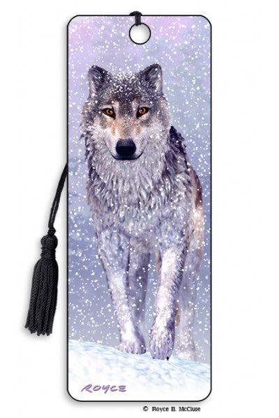 3D BOOKMARK - SNOW WOLF