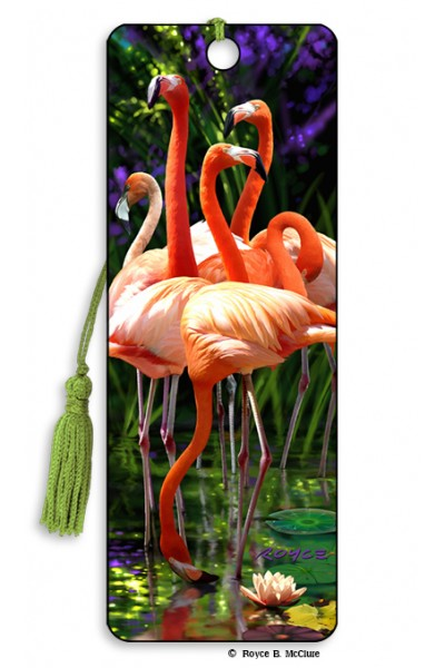 3D BOOKMARK - FLAMINGOS