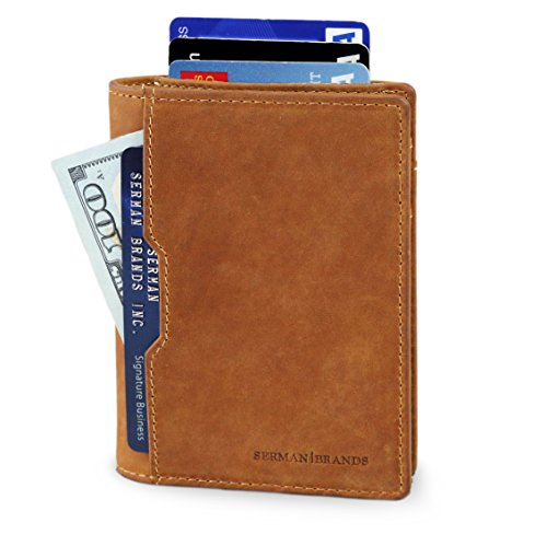 SERMAN BRANDS RFID Blocking Minimalist Bifold Slim Wallet
