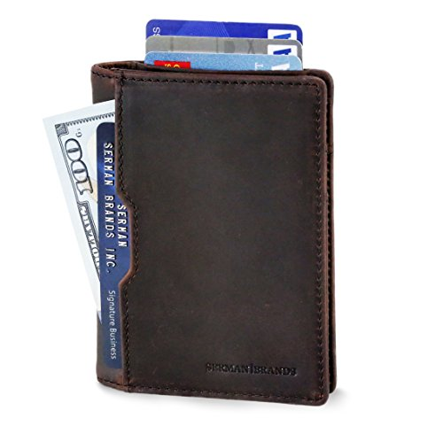 SERMAN BRANDS Slim Mens leather RFID Blocking Minimalist Bifold Wallet