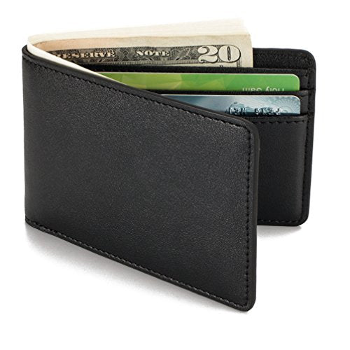 HISSIMO Black Mens Slim Front Pocket RFID Blocking Wallet