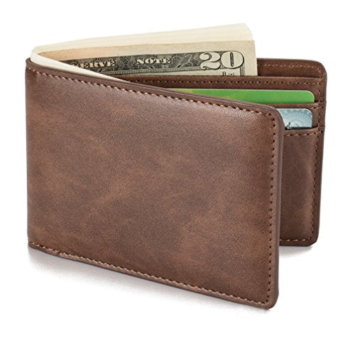 HISSIMO Coffee Mens Slim Front Pocket Wallet