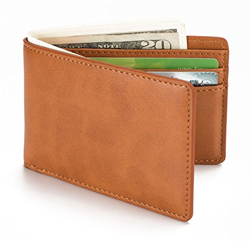 HISSIMO Brown Mens Slim Front Pocket Wallet ID Window Card Case