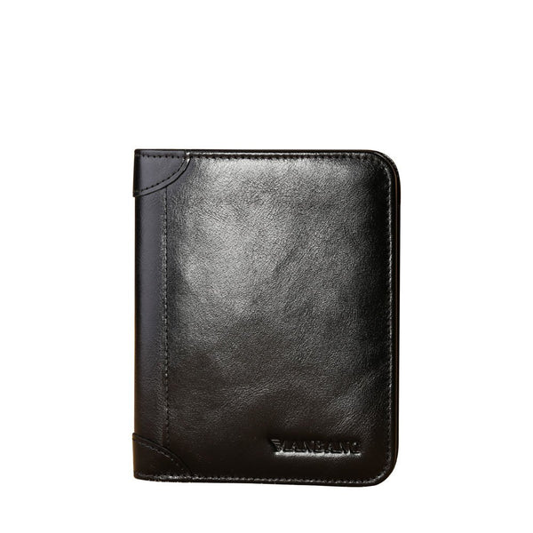 MANBANG Men's Genuine Cowhide Leather Zipper Wallet
