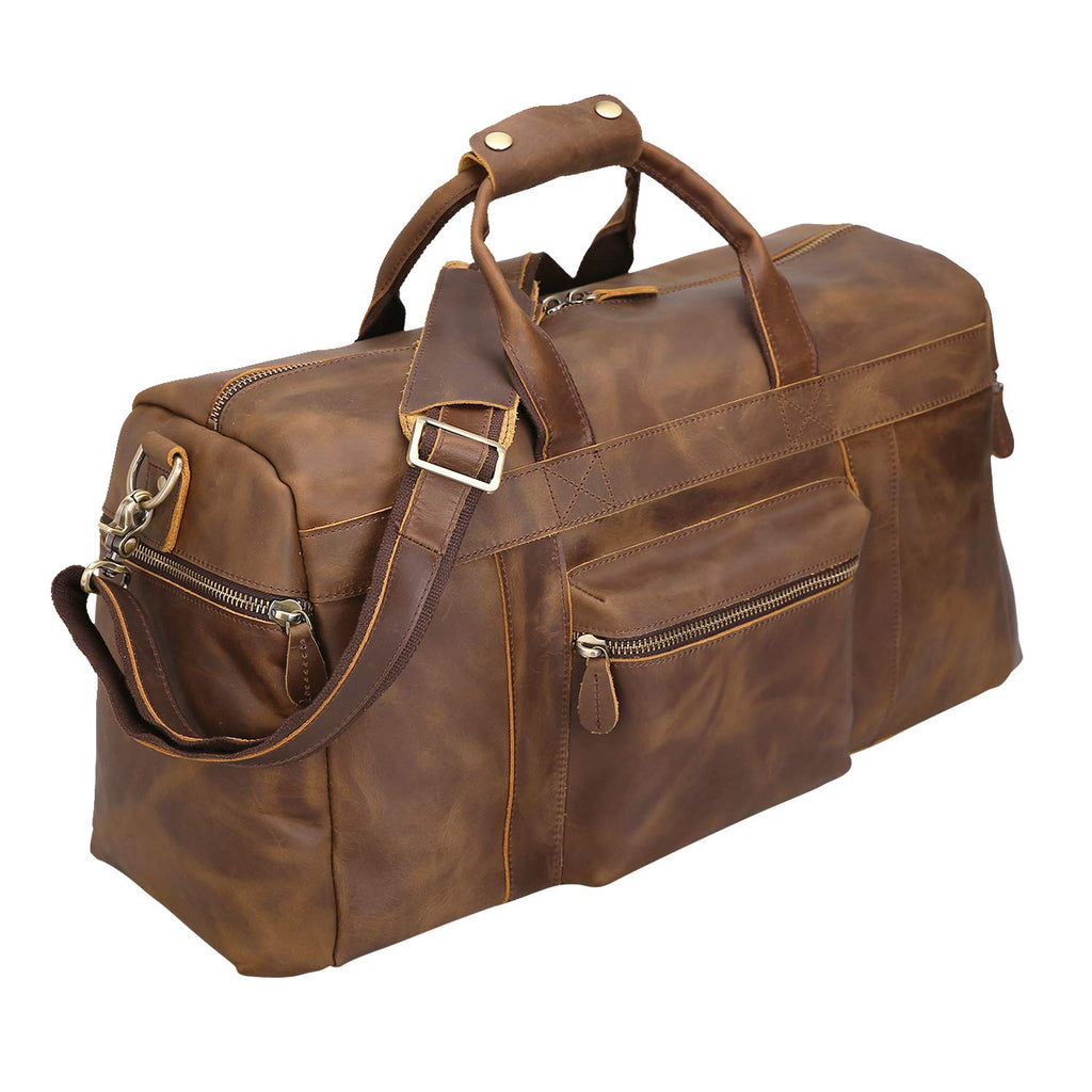 Polare Retro Thick Cowhide Leather Weekender Travel Duffel luggage Overnight Bag