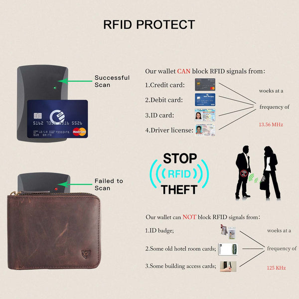 DONWORD Coffee RFID Men's Leather Zipper wallet