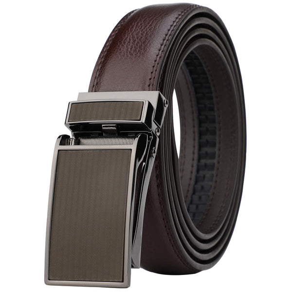 HIMI Men's Solid Buckle with Automatic Ratchet Leather Belt