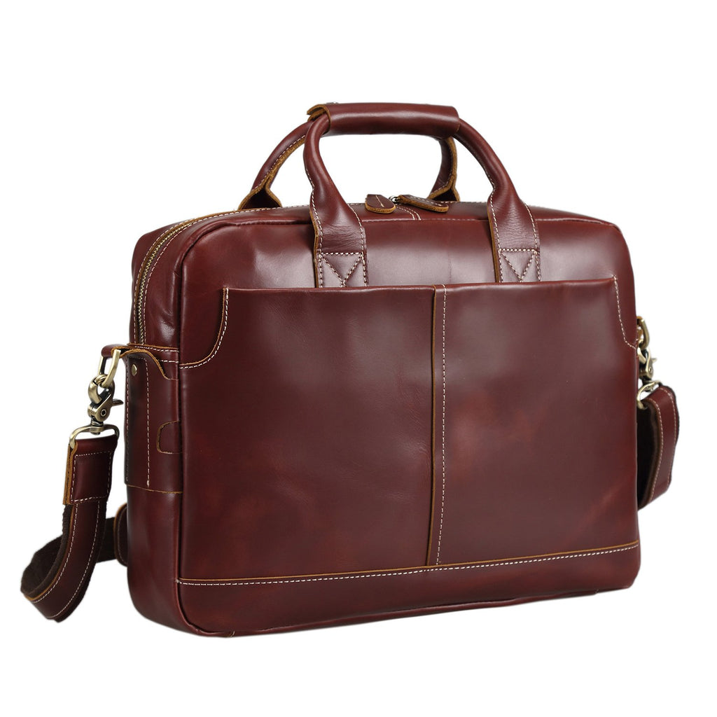 Texbo Genuine Full Grain Leather Men's Laptop Briefcase Red Brown