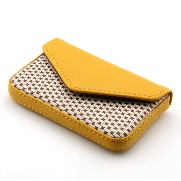 Partstock Small Card Holder Wallet Yellow PU Leather Credit Card Case