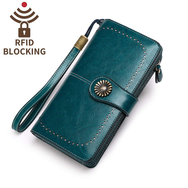 Sendefn Womens RFID Leather Large Blue Wallets