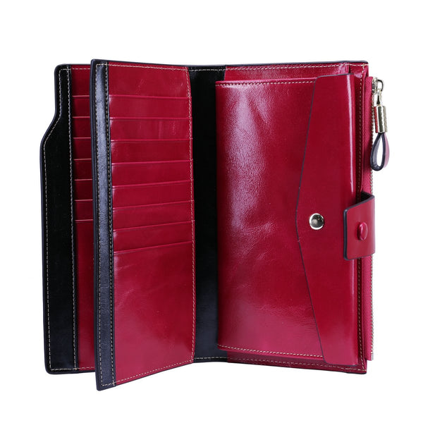 Itslife Rose Red RFID Blocking Women's Large Capacity Luxury Wax Genuine Leather Cluth Wallet