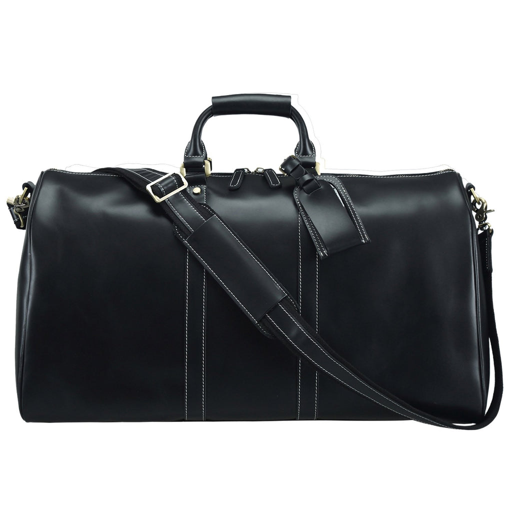 Polare Black Duffle Real Thick Oil Leather Travel luggage Bag