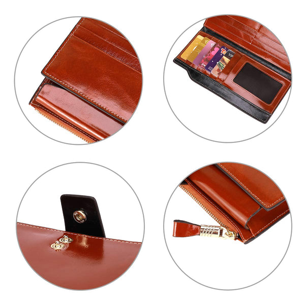 Itslife Brown Women's RFID Blocking Large Capacity Luxury Wax Genuine Leather Clutch Wallet