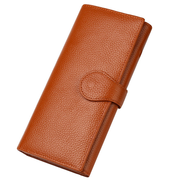 Lavemi Brown RFID Blocking Trifold Leather Checkbook Clutch Wallets for Women