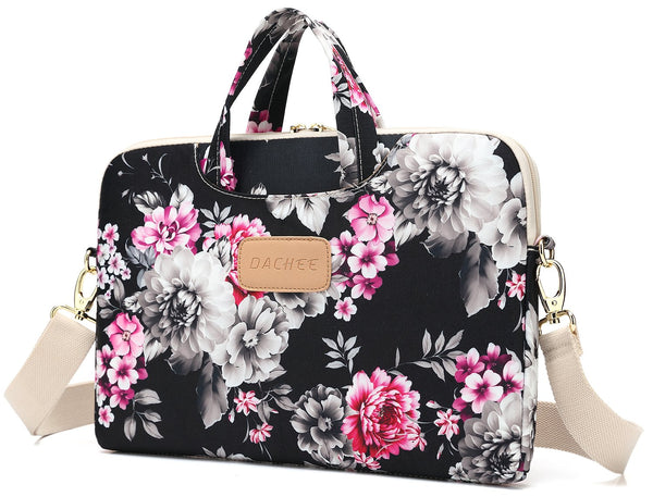 DACHEE Black Rose Pattern Shoulder Laptop Case Bag for 15.6 inch Laptop