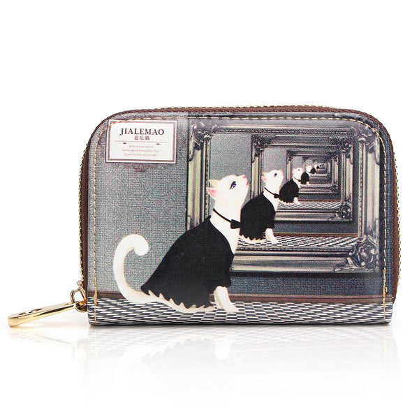 APHISON RFID Women Leather Cartoon Patterns Zipper Card Case