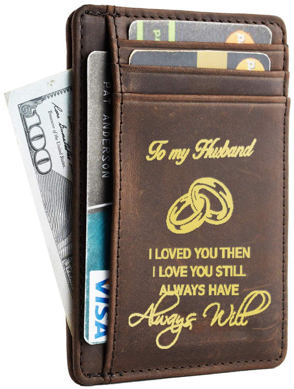 NapaWalli Wife To Husband Best Anniversary Christmas Christmas Birthday Gifts Slim Wallet