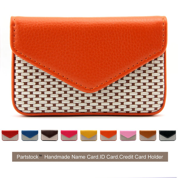 Partstock Small Wallet PU Orange Leather Business Card Holder
