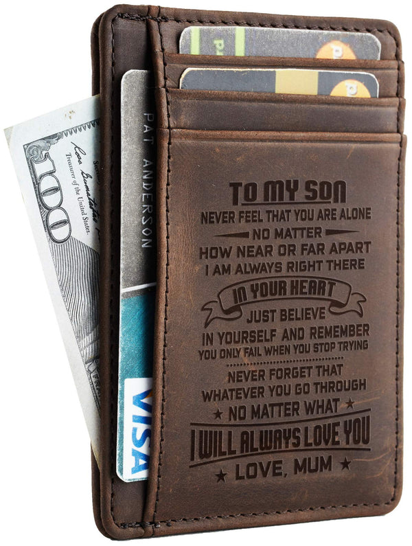NapaWalli Mother to Son Gift Best Anniversary Christmas Birthday Gifts Slim Wallet