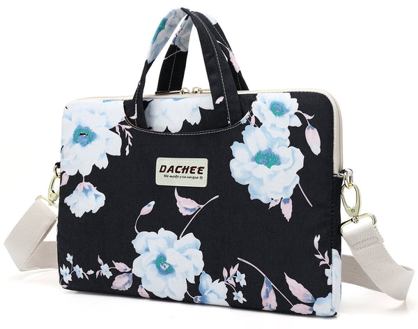 DACHEE White Flower Patten Laptop Case Sleeve for 15 Inch Laptop