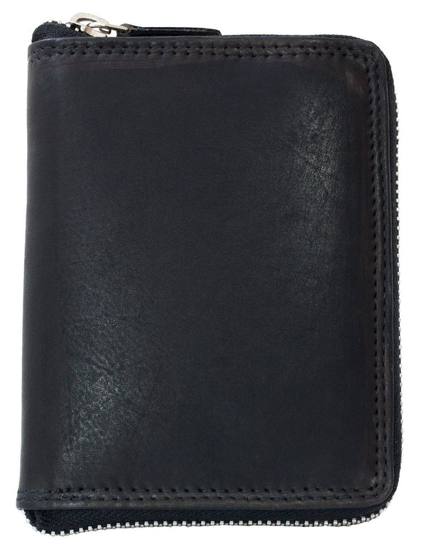 Kabana Men's Metal Zipper Black Leather Wallet