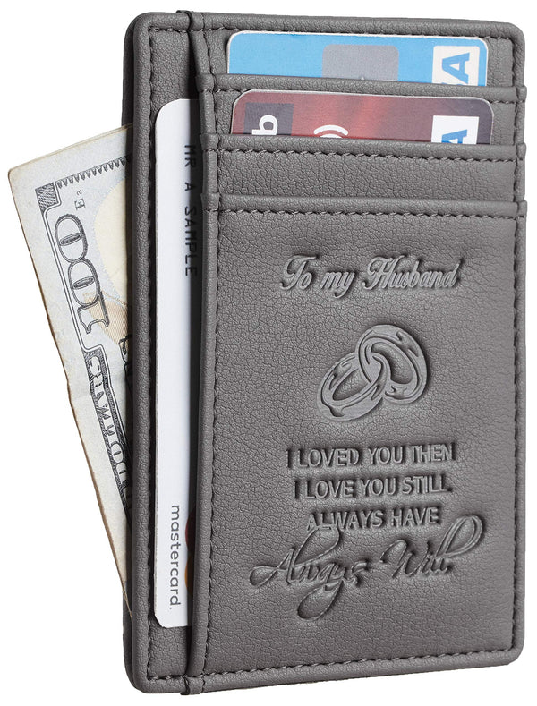 NapaWalli Wife To Husband Gift Best Anniversary Christmas Birthday Gifts Slim Wallet