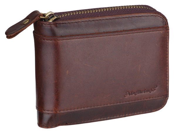 Admetus Brown Men's Genuine Leather Short Zipper Wallet