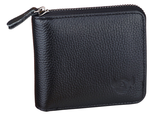 Admetus Black Men's Genuine Leather Short Zipper Wallet