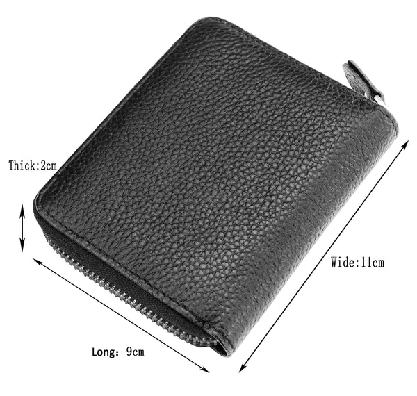 Admetus Men's Genuine Leather Short Zipper Wallet