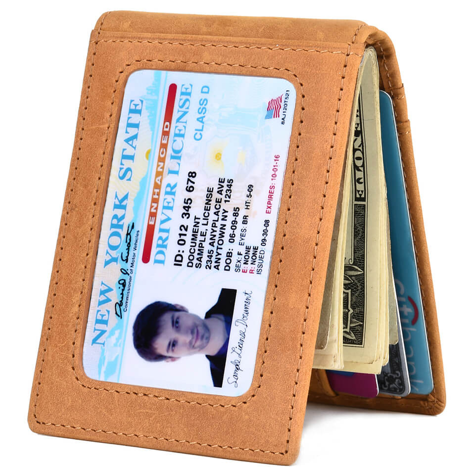 Kinzd Crazy Horse Leather Slim Bifold RFID Blocking Wallet